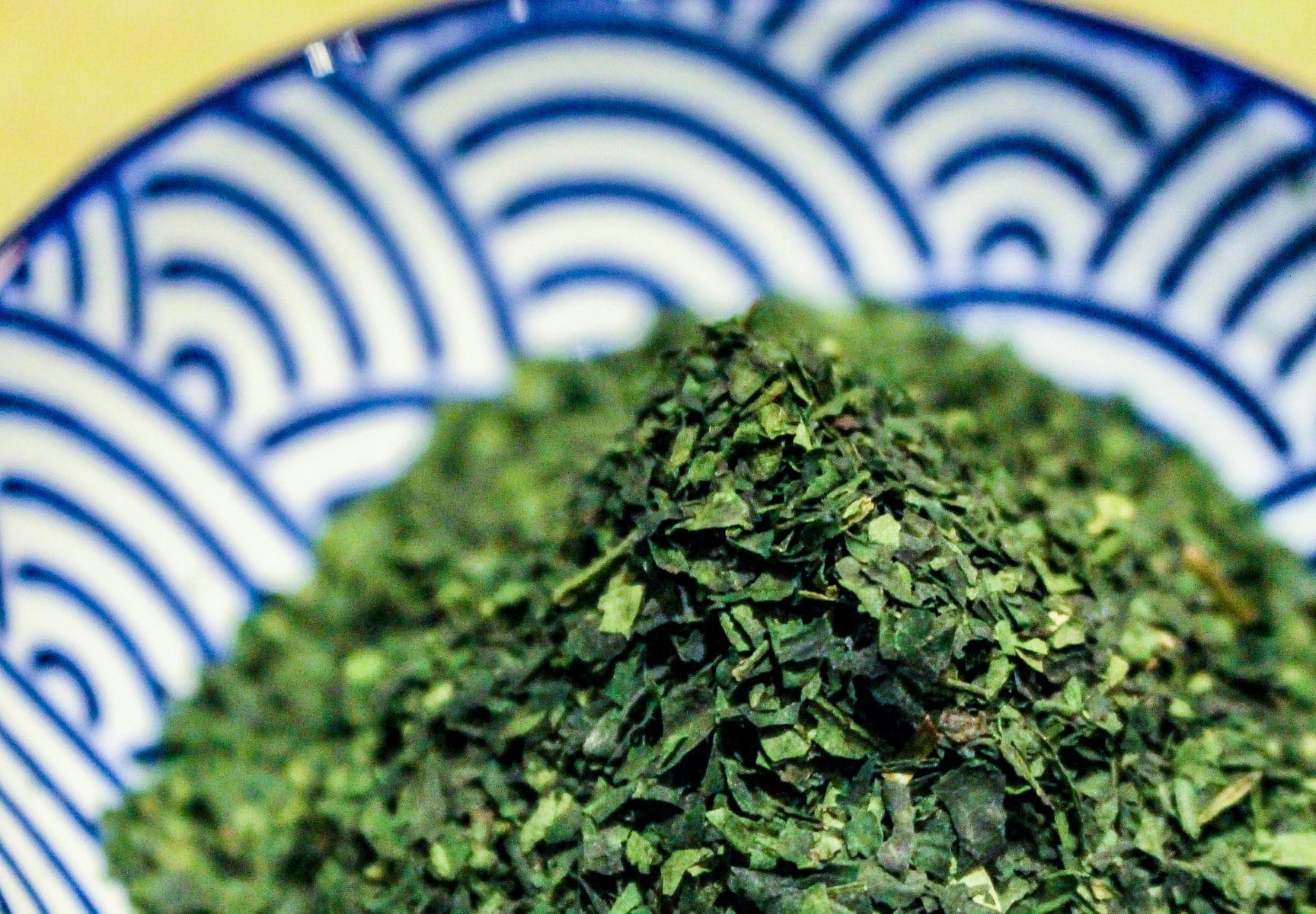 Tencha 'organic' du Japon - À l'Origine - Détail feuilles sèches